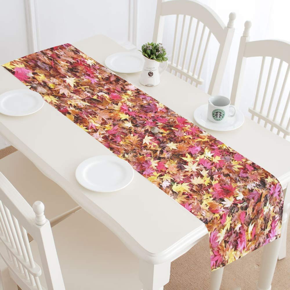 Fallen Leaves Fall Of Japan Maple Rugs Autumn Color Table Runner, Kitchen Dining Table Runner 16 X 72 Inch For Dinner Parties, Events, Decor by RYUIFI (Image #2)