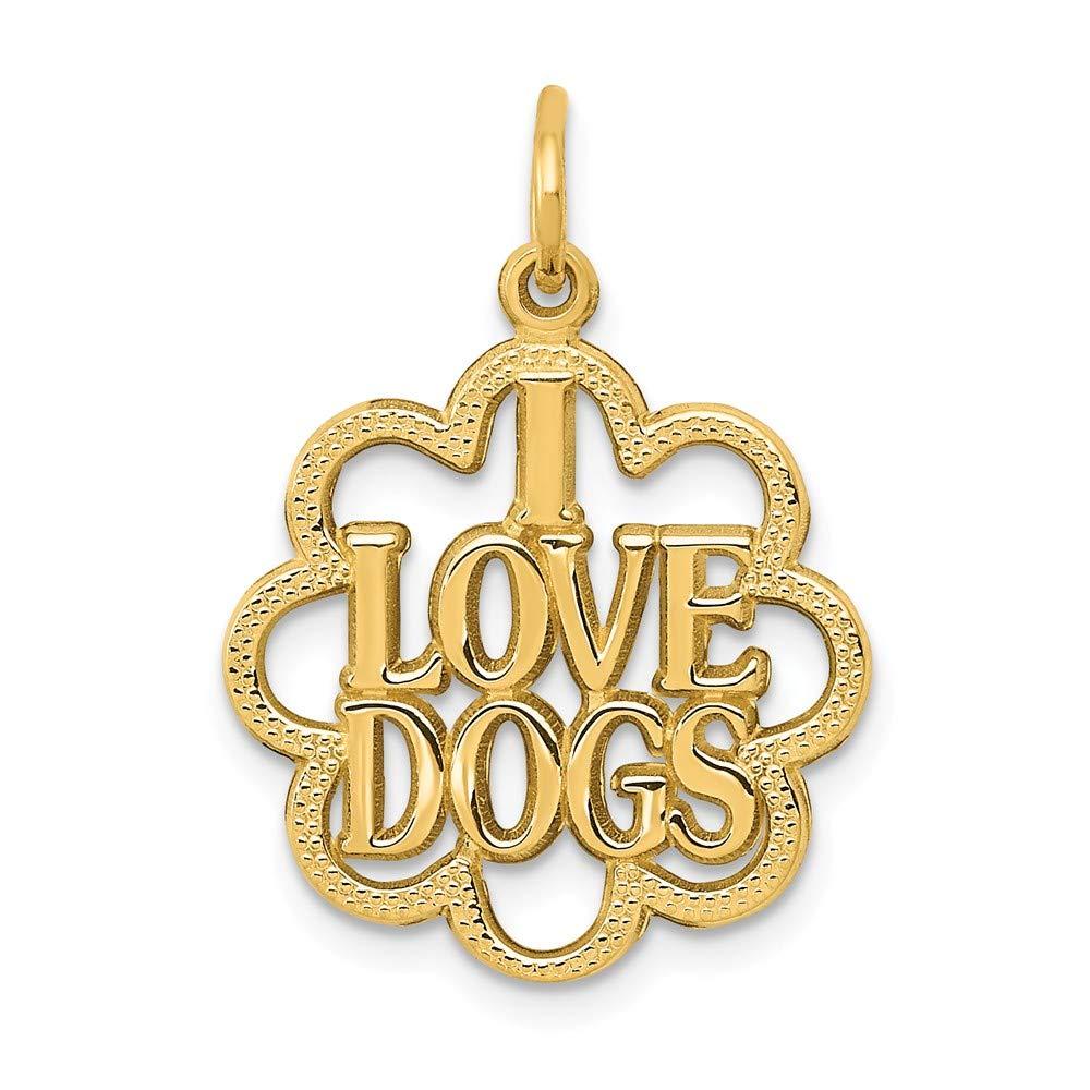 14k I Love Dogs Charm
