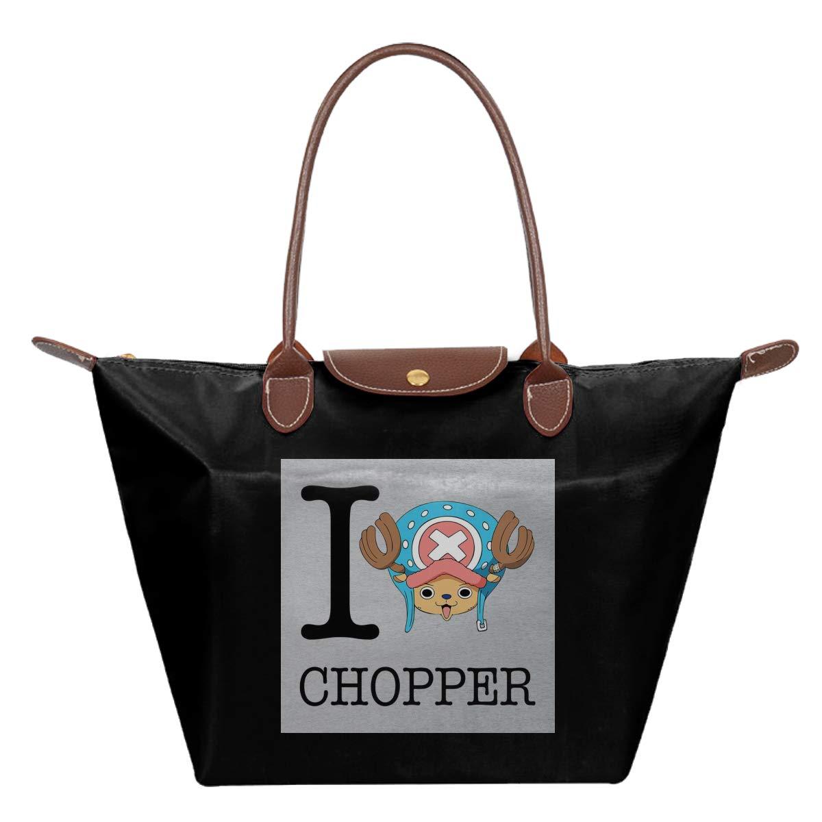 I Heart Tony Tony Chopper One Piece Waterproof Leather Folded Messenger Nylon Bag Travel Tote Hopping Folding School Handbags