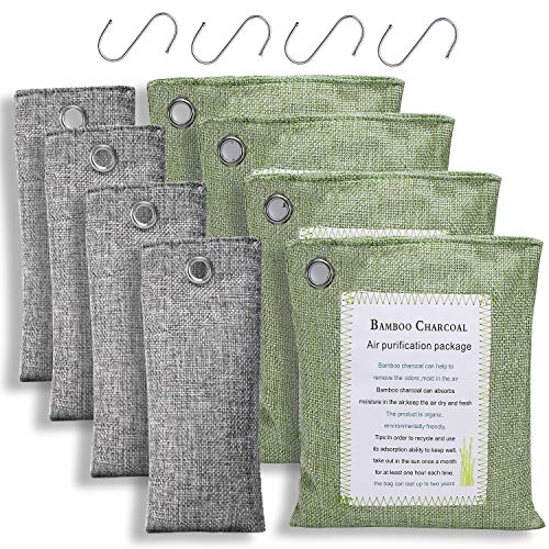 Bamboo Charcoal Air Purifying Bags (8 Pack - 4x200g+4x75g) with 4 Hooks, Natural Charcoal Bags Odor Absorber for Home and Car (Pet Friendly)