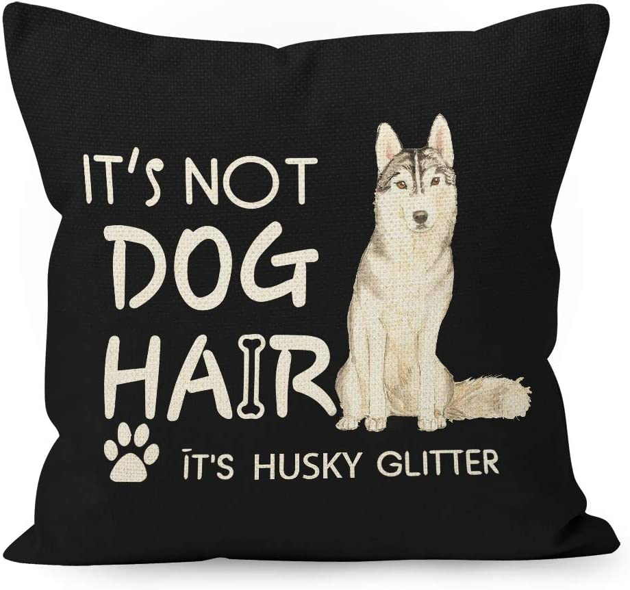 YUESHARE Funny Dog Quote It's Not Dog Hair It's Husky Glitter Watercolor Cotton Linen Throw Pillow Cover, Siberian Husky Dog Gifts for Home Room Bed Sofa Decorations Decor (18 x 18 Inch)