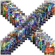100pcs Poke Cards - Ultra No Duplication TCG Style Card Holo EX Full Art : 20 GX + 20 Mega + 1 Energy + 59 EX