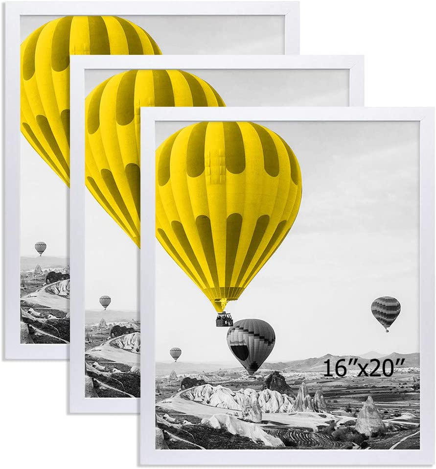 THREELOVE 16x20 Frame White Solid Wood Wall Mounting Home Decor 16x20 Poster Frame, 3 Pack