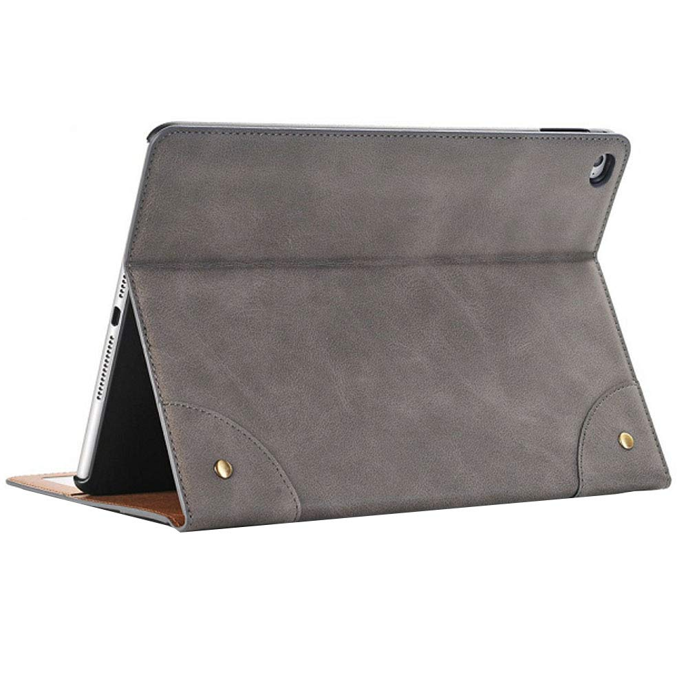 Jennyfly Protective Cover for Galaxy Tab S3 9.7 inch Retro Fashion Luxury PU Leather Smart Protective Case with Card Slot Hand Free Book Style Stand Tablet Case for Samsung Galaxy Tab S3 9.7- Gray