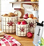 Gift Included- Star & Berry Farmhouse Kitchen Country Vegetable & Fruit Storage Baskets Set of 3 + FREE Bonus Water Bottle by Homecricket