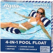 Aqua 4-in-1 Monterey Hammock Inflatable Pool Float, Multi-Purpose Pool Hammock (Saddle, Lounge Chair, Hammock,
