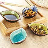 Sauce Dish Dinnerware Set Appetizer Plate Japanese Calvings Glaze Ceramic Vinegar Spice Salad Soy Sushi Wasabi Seasoning Dipping Bowls, Service for 4