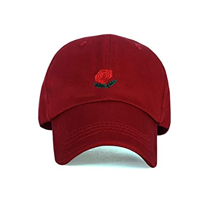 4898d91f76258 FGSS Unstructured Rose-Emboirdered Baseball-Cap for Women - Men Dad Hat  Cotton