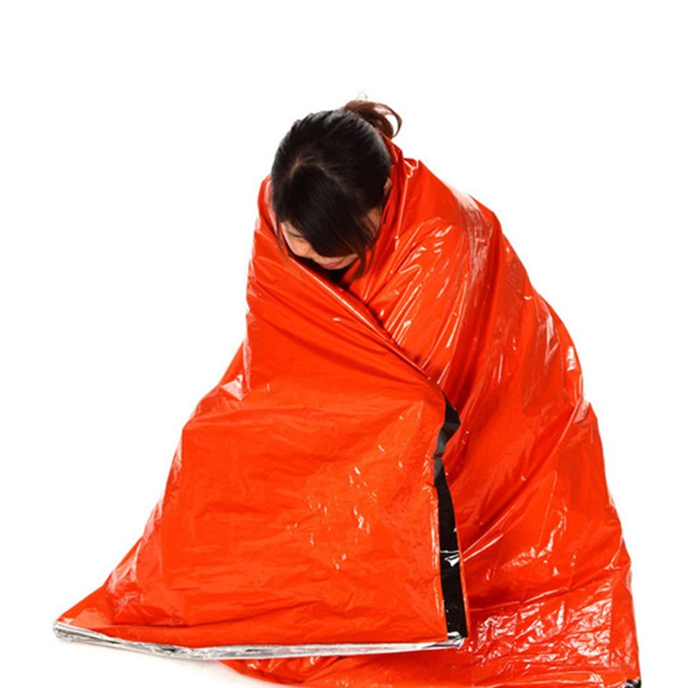 grofitness saco de dormir de emergencia al aire libre supervivencia manta térmica reflectante frío refugio tienda de campaña Camping senderismo multifunción ...