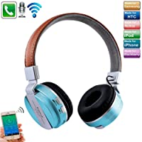 TechCode Bluetooth Headphones, Wireless Foldable Over-Ear Stereo Headset With Microphone Supports Hands-Free Calling/TF Card Slot AUX MP3 Player/Wired Mode for PC/Cell Phones/TV (Blue)