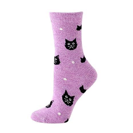 Mimihuhu - Calcetines de Lana para Mujer, diseño de Gato ...