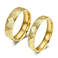 KnBoB Wedding Rings for Couple High Polished Partner Rings Gold