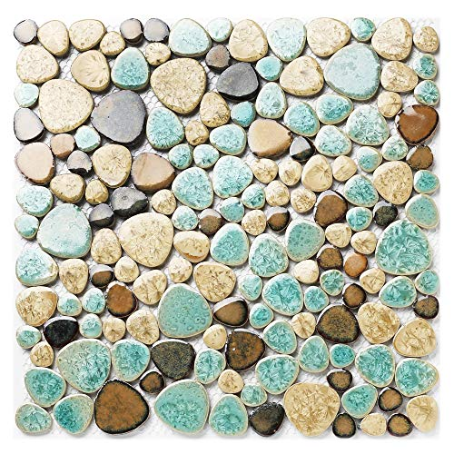 Pebble Porcelain Tile Fambe Turquoise Green Beige Shower Floor Pool Alley Tiles Mosaic TSTGPT005 (11 Square Feet) - Shower Floor Tiles