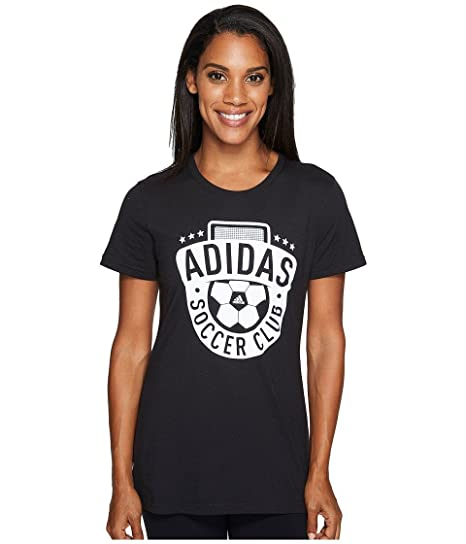 adidas Women's Soccer Club Graphic Tee, Black/White/Soccer, X-Small