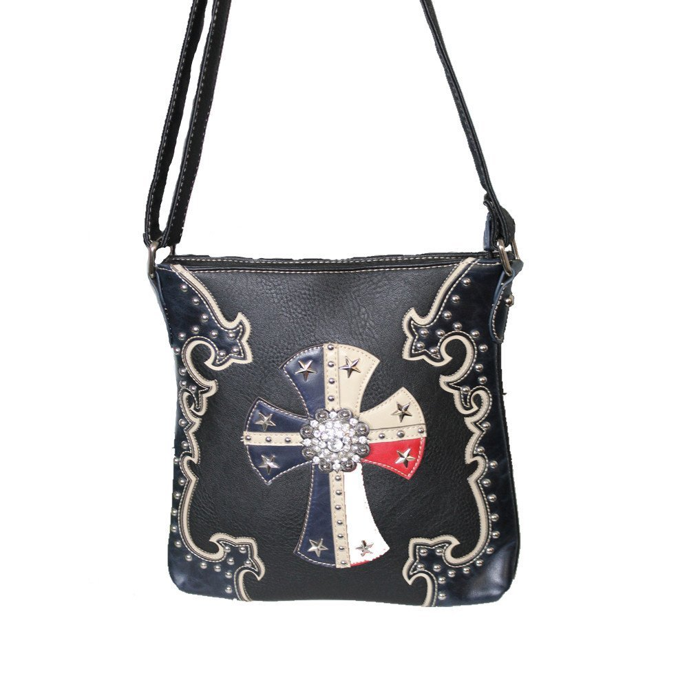 f1622a4adeb9 American Star Concho Cross Leather Concealed Carry Handbag Purse in Red and  Blue and Optional Matching Wallets. (Blue Messenger bag)