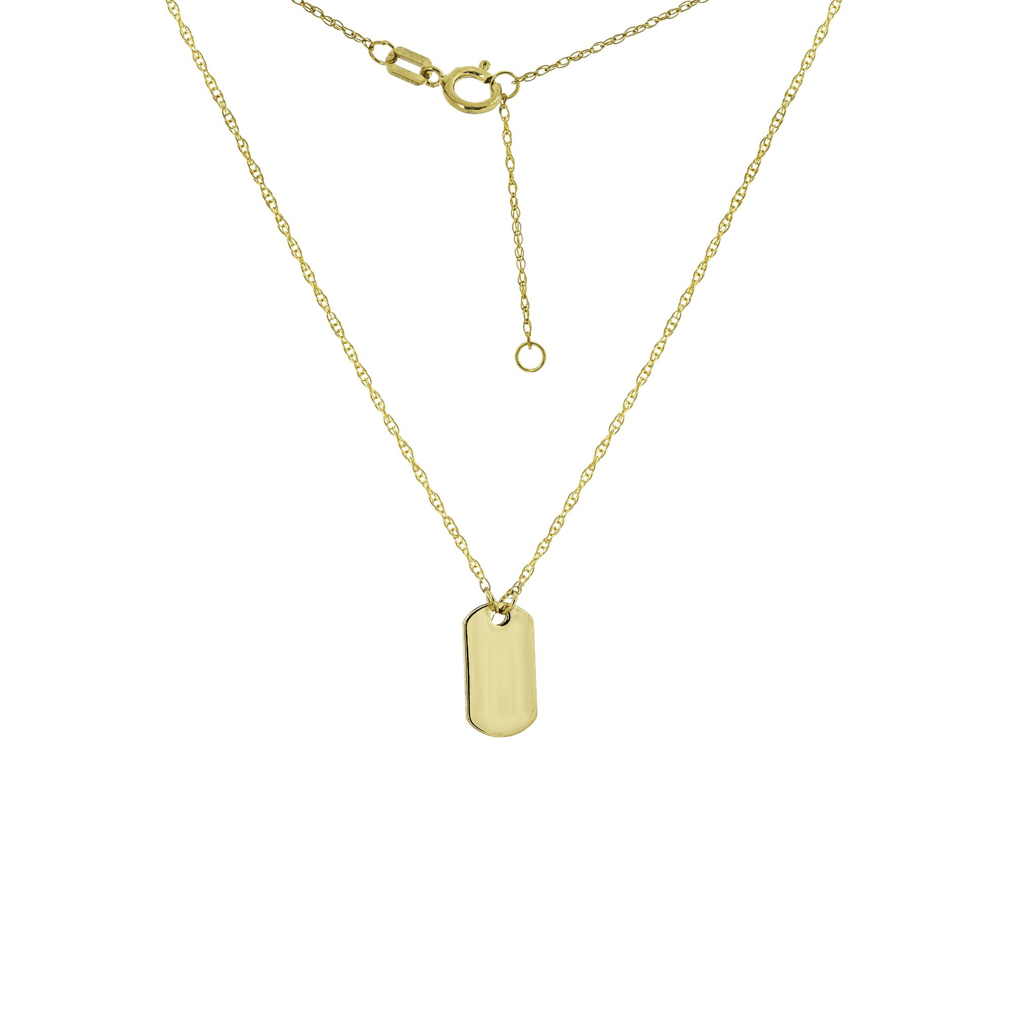DOG TAG, 14KT GOLD DOG TAG NECKLACE 18'' INCHES