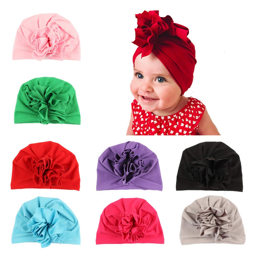 8 Pcs Baby Girl Hats Soft Cute Turbans Headband Cap with Beanie for Newborn Infant Kids Girl's