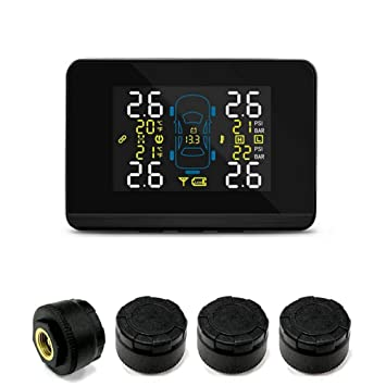 Blue-Yan Syst/ème de Surveillance de Pression des pneus TPMS Outils de contr/ôle de Pression des pneus avec 4 capteurs /à Capuchon Externe