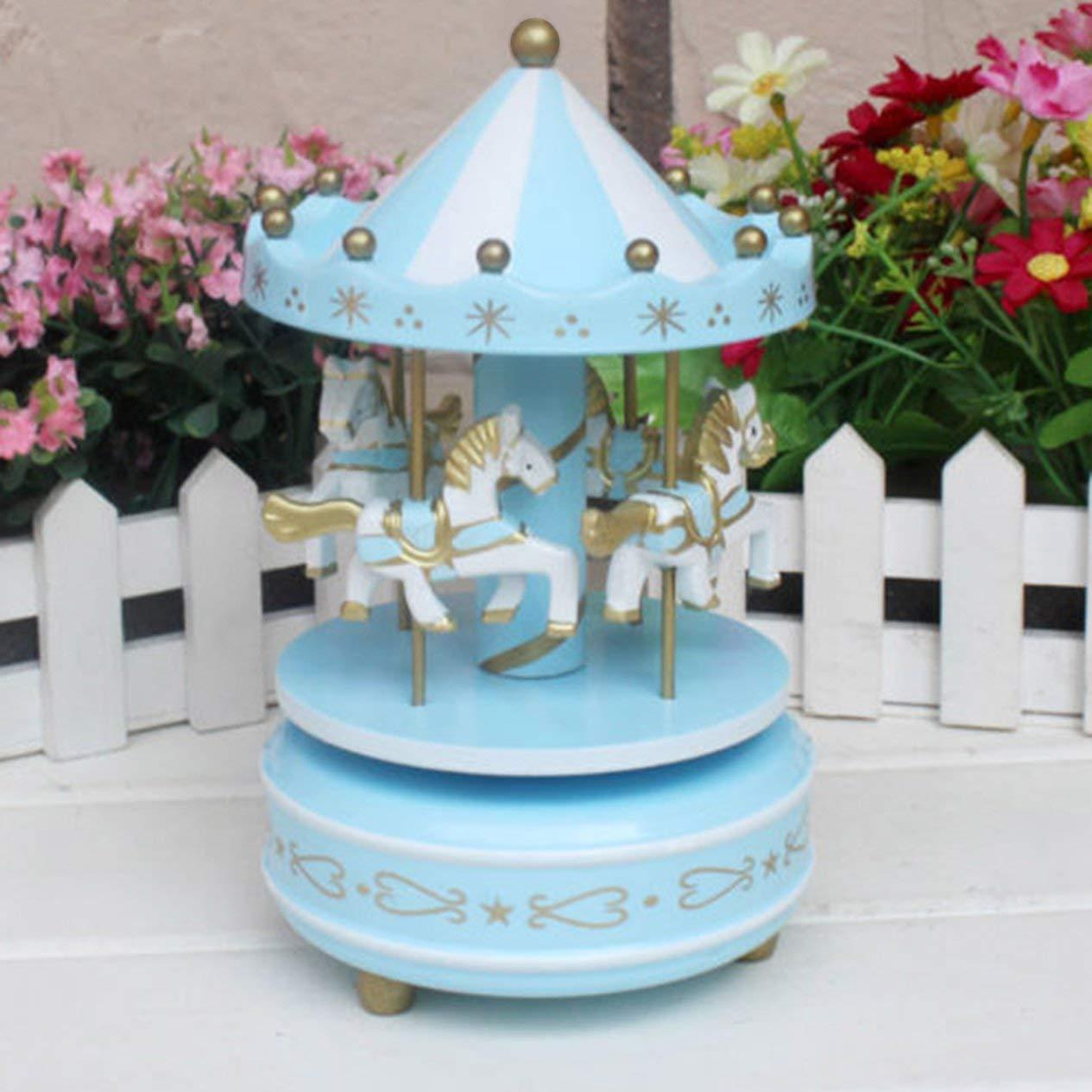 blau H/ölzerne Karussell-Spieluhr f/ür Kinder Spielzeug Hochzeit Geburtstage Geschenk Aufziehpferd Rummelplatz Spieluhr