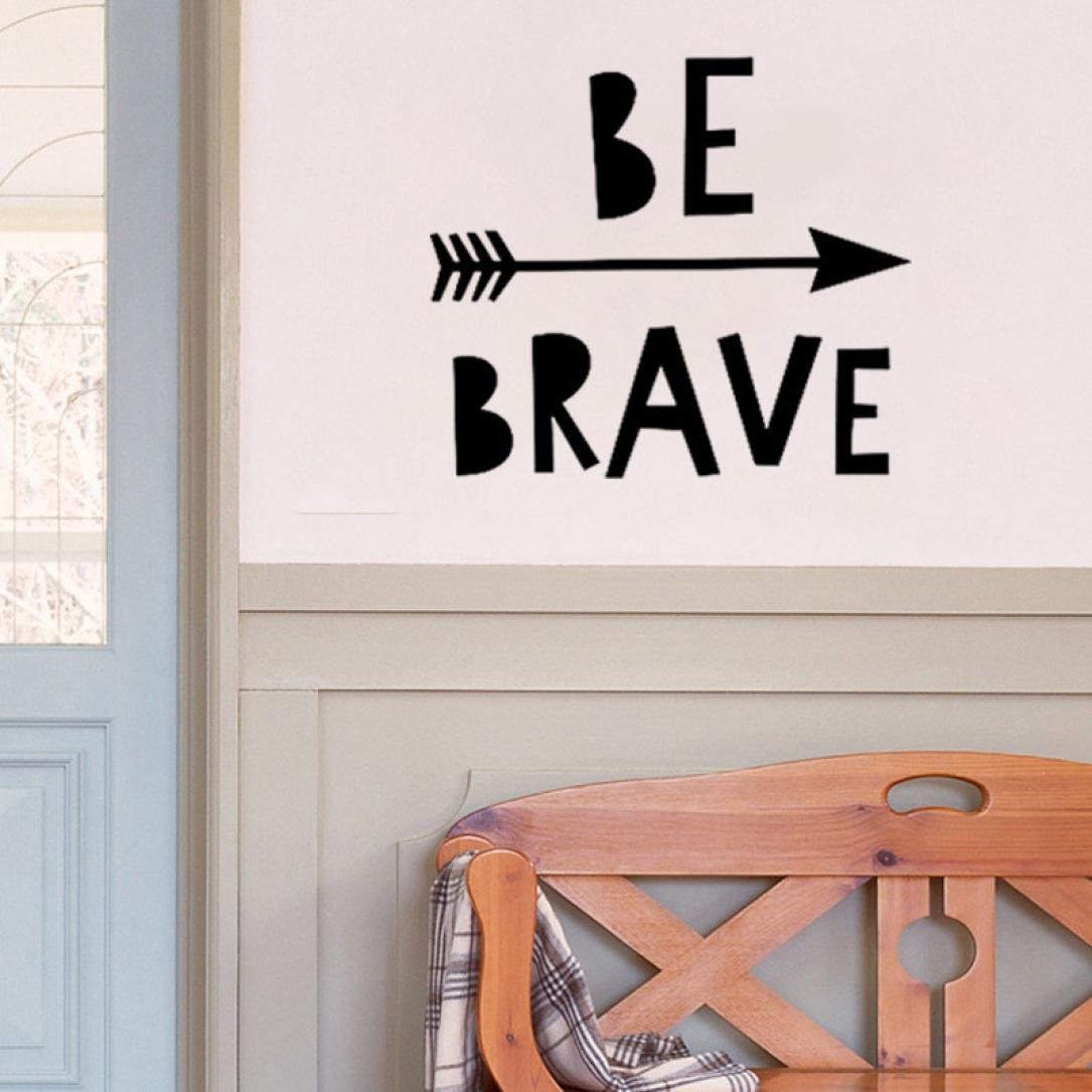 Iuhan Removable Be Brave Arrow Art Vinyl Mural Home Room Decor Wall Stickers Wall Decors (B)