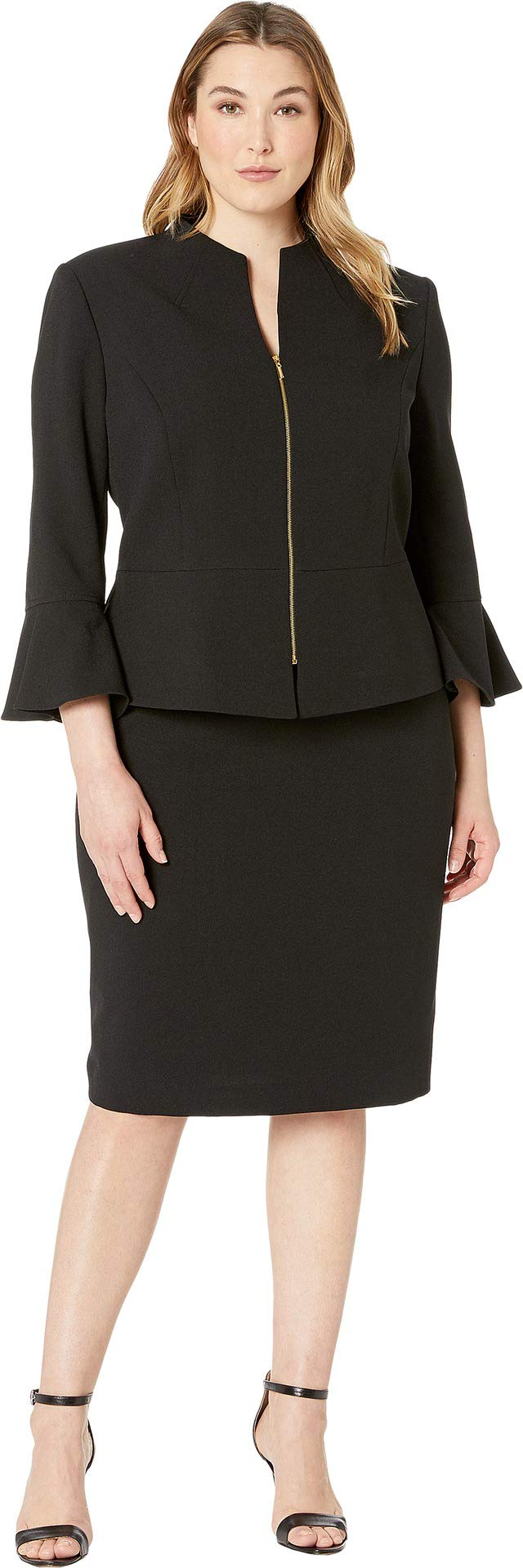 Tahari by ASL Women's Plus Size Skirt Suit with Collarless Jacket Black 18 W