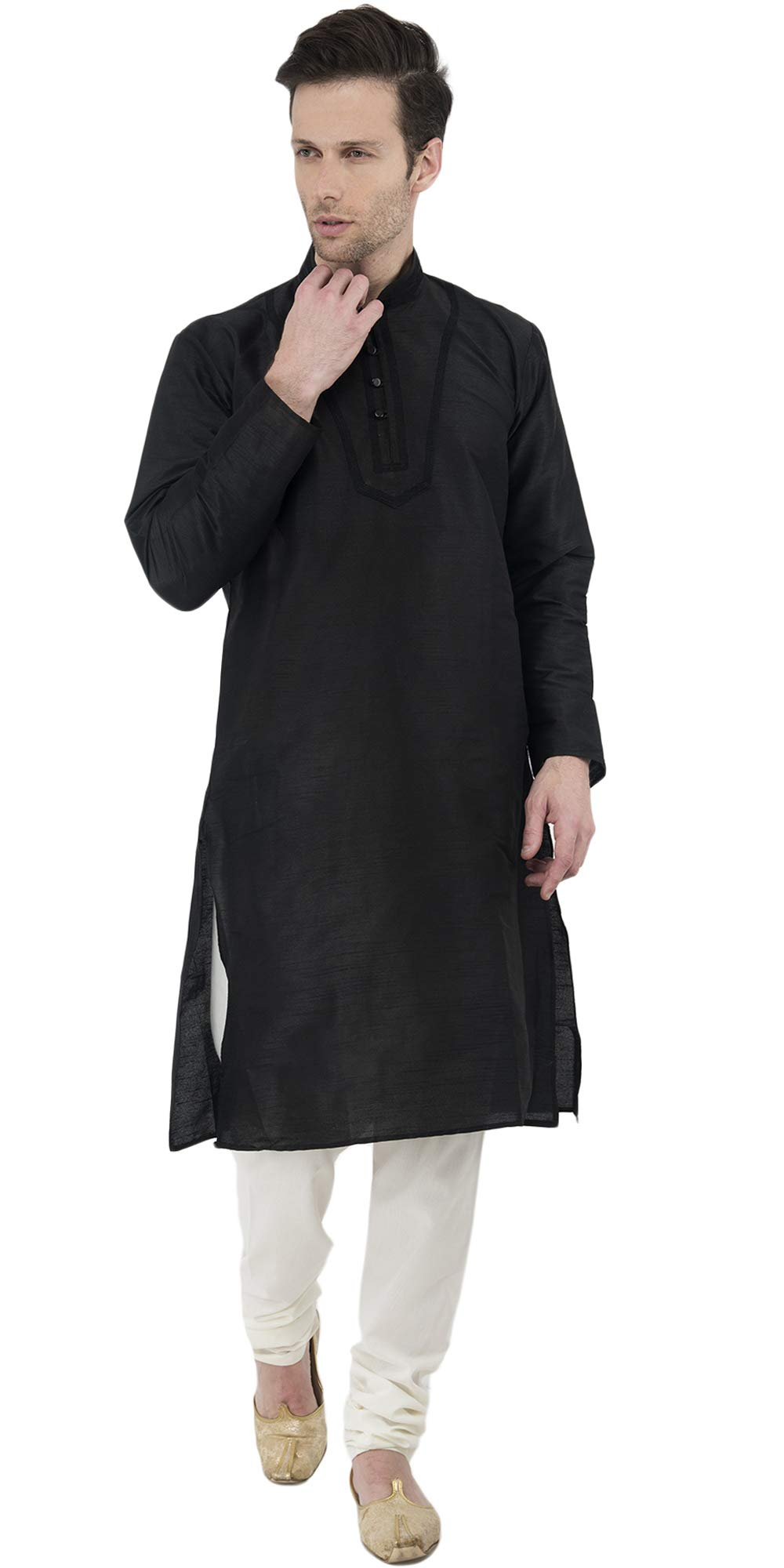 Black Kurta Pajama Set Dress for Men Indian Wedding Party Wear Long Sleeve Button Down Shirt -XL