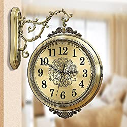 WENHSIN 16 European Luxury Classical 360° Wall Clock Antique Design Ultra Mute Quartz Full metal Frame Double Sides Clock for Living Room Clock Art Deco (Full Metal frame)