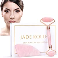 Jade Roller & Gua Sha Set, ZC Face Roller, Facial Beauty Roller Skin Care Tools, Rose Quartz Massager for Face, Eyes…