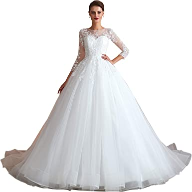 Women S Sweetheart Ball Gown White Wedding Dress With Lace Long Sleeves At Amazon Women S Clothing Store,Sky Blue Dresses For A Wedding