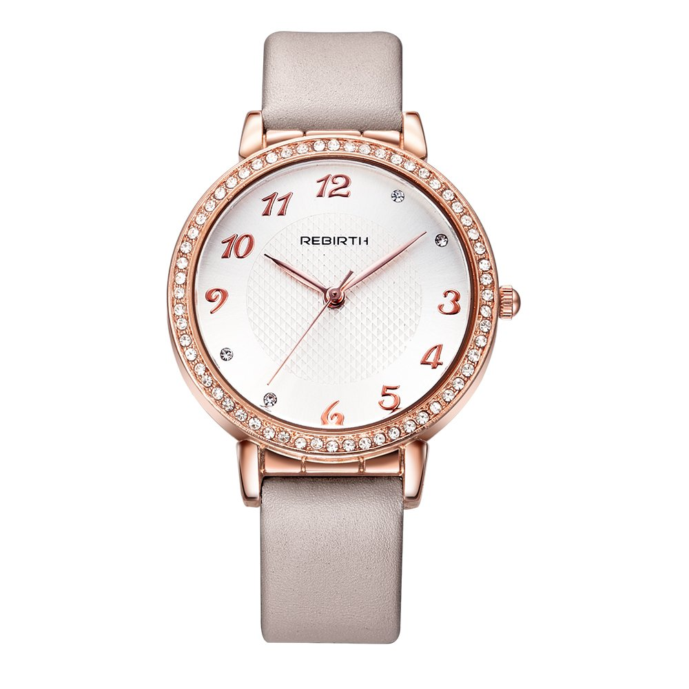 Brilliant Women's Rose Gold Case Watch With Crystal Noble Shining Dress Wrist Watch For Women And Ladies
