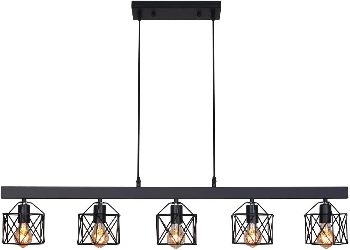 Unitary Brand Antique Black Metal Long Kitchen Island Lighting with 5 E26 Bulb Sockets 200W Painted Finish