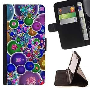 BullDog Case - FOR/Samsung Galaxy S4 Mini i9190 / - / colorful bubbles wallpaper bling neon flowers /- Monedero de cuero de la PU Llevar cubierta de la caja con el ID Credit Card Slots Flip funda de cuer