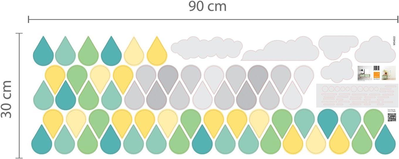 Multicolore Walplus 84x49 cm Mural Autocollants  Nuages /& Gouttes  Amovible Auto-Adh/ésif Mural Art Stickers Vinyle Maison D/écoration DIY Salon Chambre Bureau D/écor Peint Enfants Chambre Cadeau