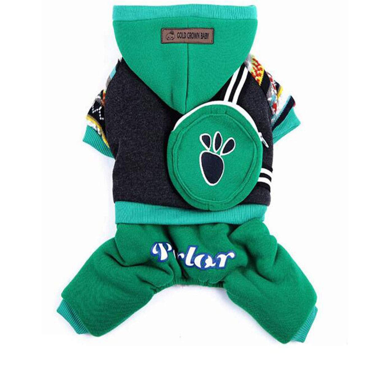 Green backpack M Green backpack M Dog Winter Clothes, Small Dog Cotton Coat (color   Green Backpack, Size   M)