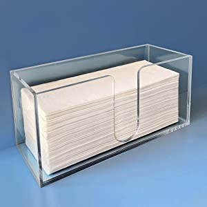 "Sicily Multifold Paper Towel Dispenser for Bathroom and Kitchen Countertop (10.5""W x 4.125""D x 5""H) Modern 5mm Clear Acrylic Napkin Holder for C-Fold, Z-Fold and Trifold Napkins in Home and Restaurant"