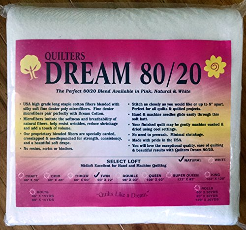 Quilter's Dream 80/20, Natural, Select Loft Batting - Twin Size (20 Cotton Batting)