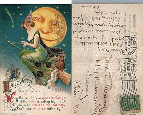 (ANTIQUE 1912 HALLOWEEN POSTCARD - THE WITCH OWL MOON FACE JOHN WINSCH)