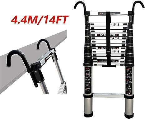 ZHSBEscalera telescópica Plegable de aleación de Aluminio, Escalera Recta Simple de usos múltiples con Gancho Escalera telescópica Pesada 14 pies (4,4 Metros) Carga máxima 150 kg: Amazon.es: Hogar