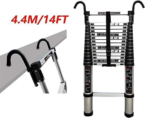 Escalera telescópica Plegable de aleación de Aluminio, Escalera Recta Simple de usos múltiples con Gancho Escalera telescópica Pesada 14 pies (4,4 Metros) Carga máxima 150 kgWGWJ: Amazon.es: Hogar