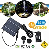 Morbuy Solar Panel Outdoor Water Fountain Pump, Upgrade Pond Garden Bird Bath Sprinkler Relaxing Water Feature Decoration Submersible Brushless Kit with 4 Nozzles (1 Set)