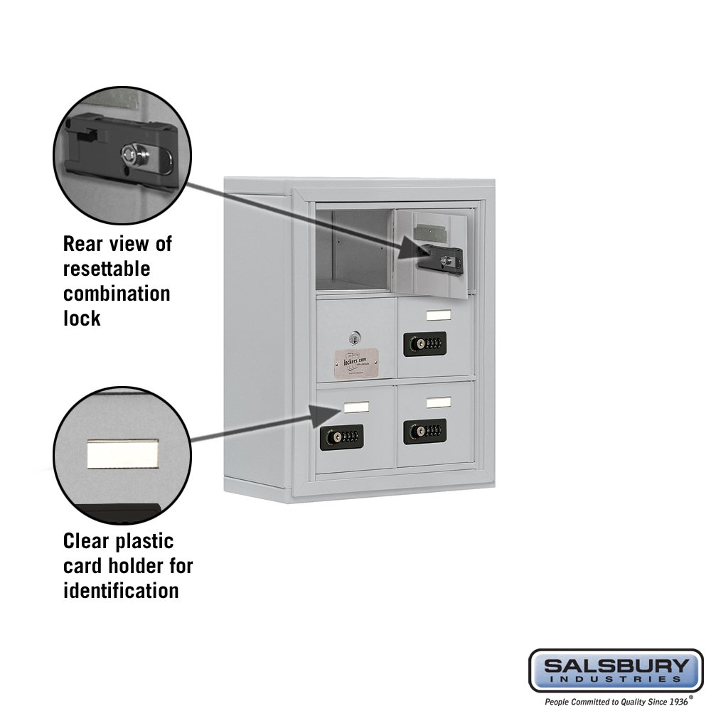 Aluminum Salsbury Industries 19135-06ASC Cell Phone-Access Panel-3 Unit Surface Mounted-Resettable Combo Locks with 5-Inch Diameter Compartments