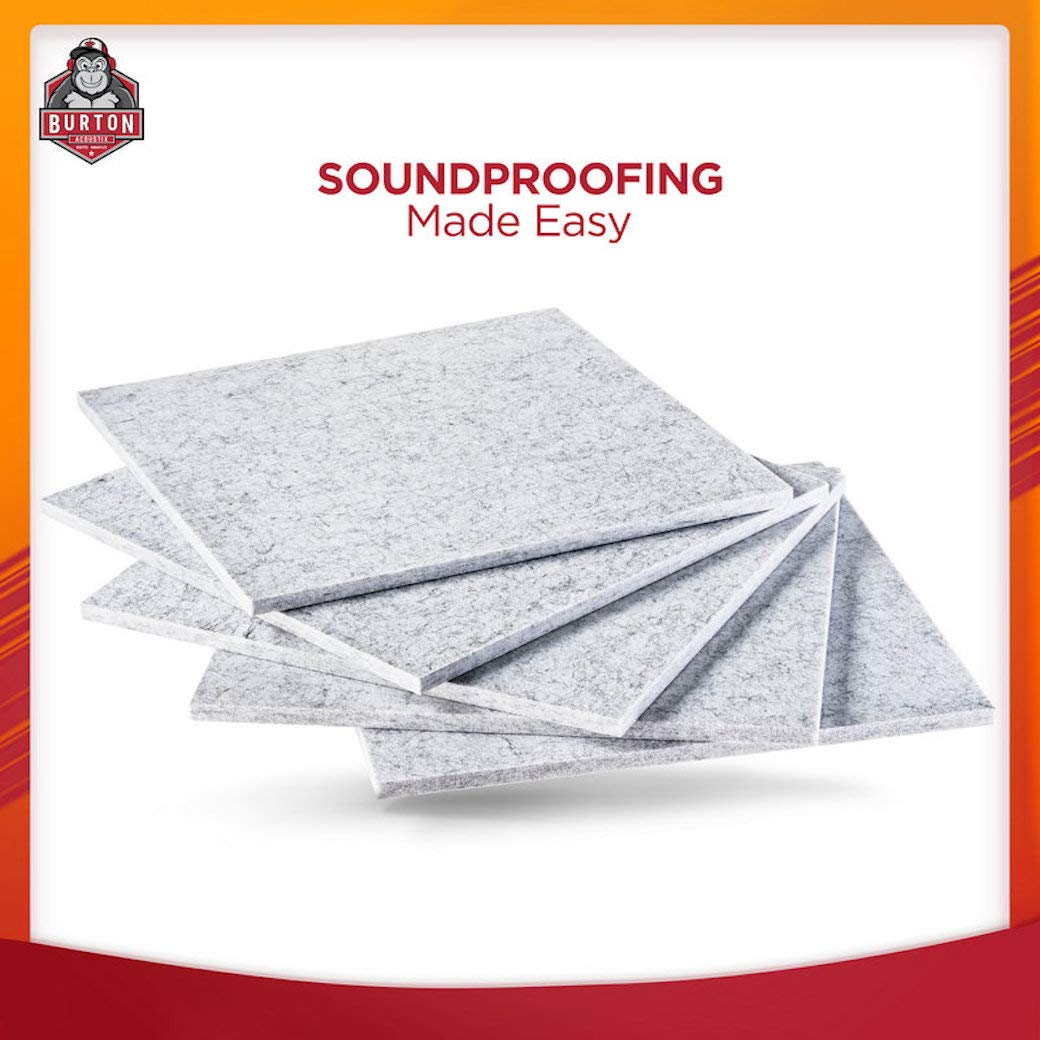 Burton Acoustix Series 9 -Ultra High Density 200 Kilograms/m3 Soundproofing Panels - Designed by Sound Engineers - Good for Soundproofing and Acoustic Treatment - 12 x 12 Inches - 5 Piece Pack
