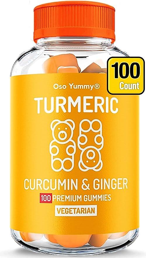 (100 CT) Organic Turmeric Gummies for Adults & Kids   Real Fruit Anti Inflammatory Response Pain Support  Chewable Immune Support Vitamins   Turmeric Ginger Supplement Tumeric Curcumin Ginger Gummies