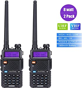 Walkie Talkies 2 Way Radio BaoFeng Radio Series UV-5RH High Power 8 Watt Dual Band Two Way Radio for Hiking Camping Trolling (Newer Version of Baofeng UV-5R) by LUITON(2 Pack)