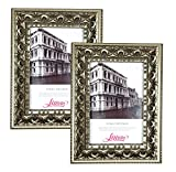 Lilian Antique Gold Display 5x7 Desk/Wall Photo Frame - Wall Mounting Material Included(2-Pack)