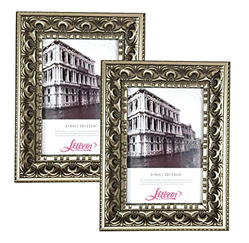 Lilian Antique Gold Display 5x7 Desk/Wall Photo Frame - Wall Mounting Material Included(2-Pack) by Lilian
