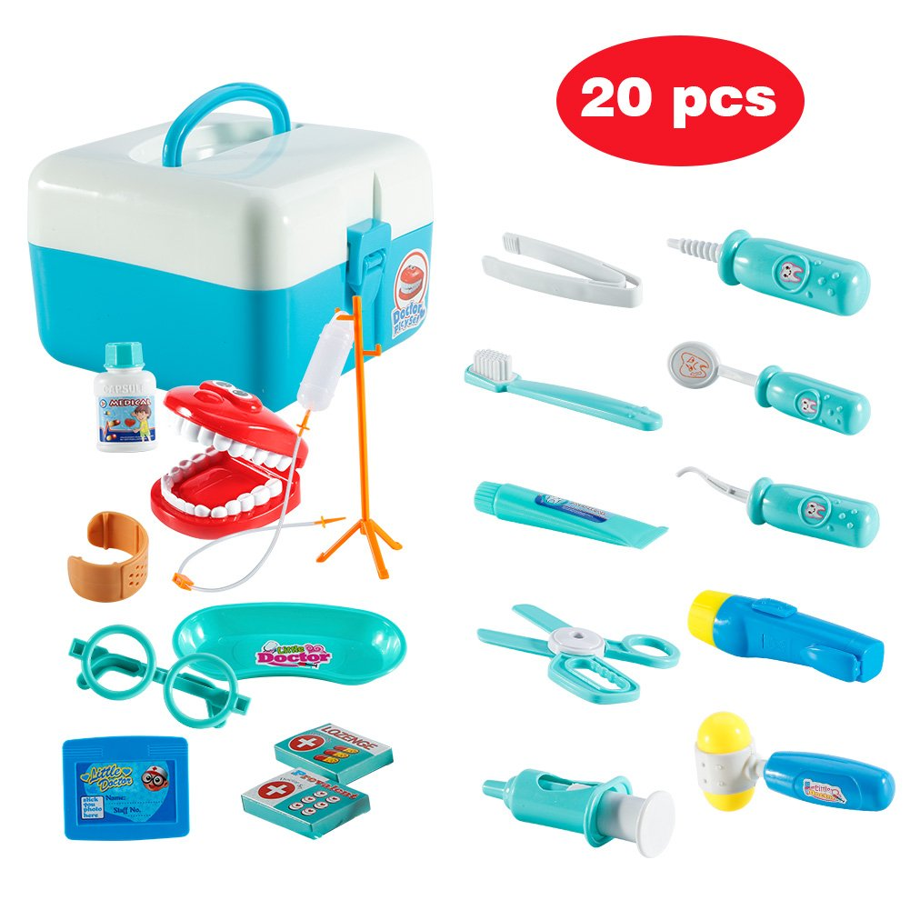 FunsLane Dentist Toy Doctor Kit for Kids, 20 Pcs Pretend Play Dentist Tools Medical Set for Toddlers Costume Role Play, School Classroom Educational Toy, Blue by FunsLane
