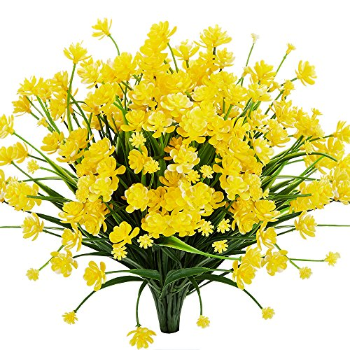 Artificial Pot Yellow (TEMCHY Artificial Daffodils Fake Flowers, 4 Bundles Yellow UV Resistant Faux Greenery Foliage Plants Shrubs for Garden, Wedding, Outside Hanging Planter, Farmhouse Indoor Outdoor Decor)