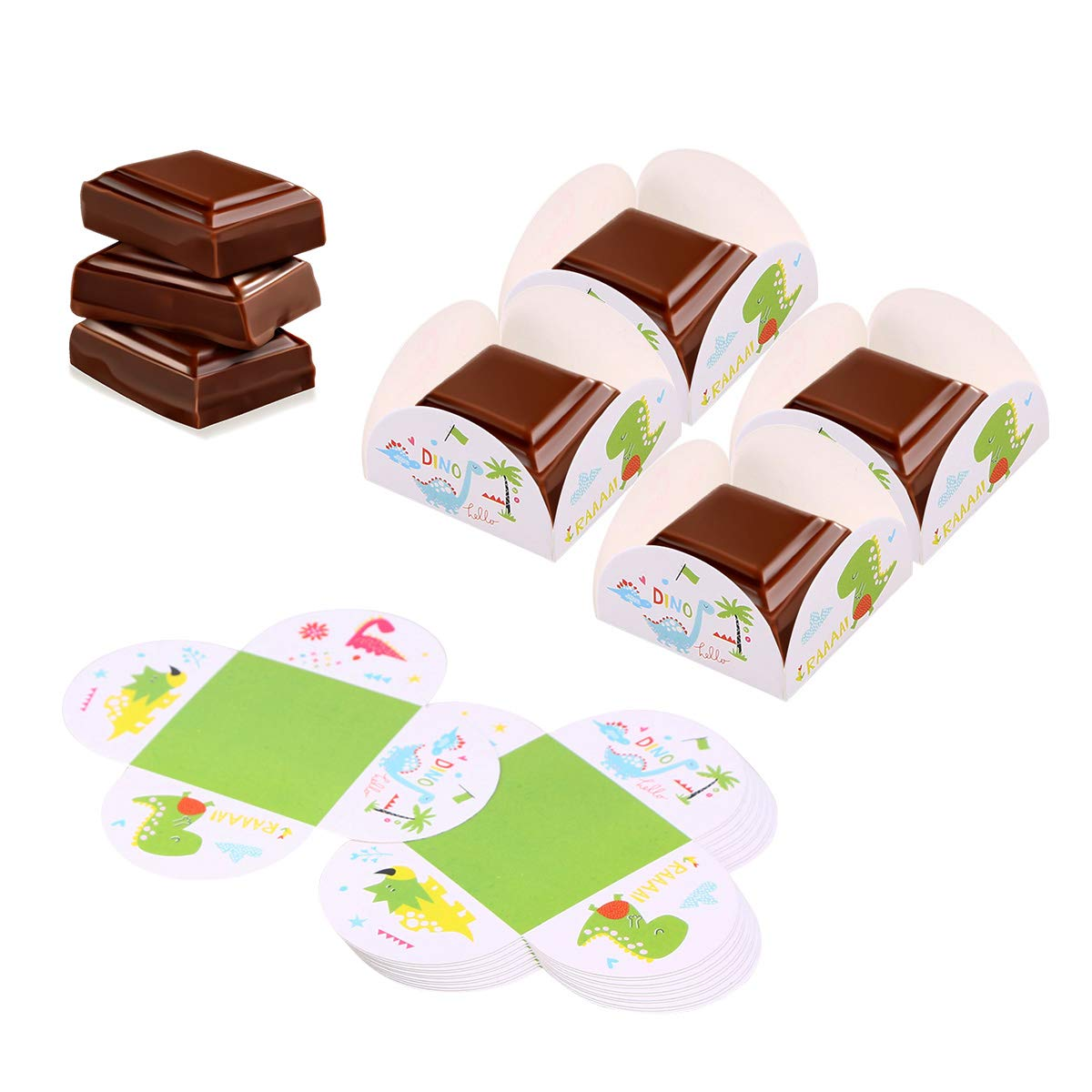 BESTONZON 10 St/ücke Schokoladenpapier Tablett Dinosaurier Gemustert Einweg Cupcake Cookies Box Container Party Supplies
