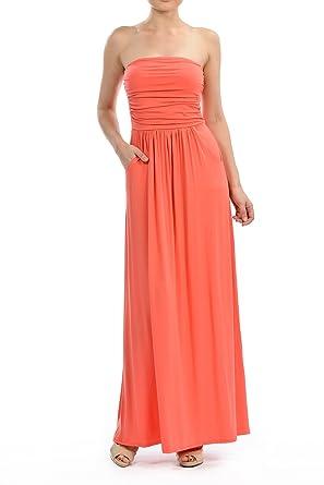 5c74122aaff Comely Clothing Women s Modal Knit Jersey Tube Maxi Dress W Pocket (Medium